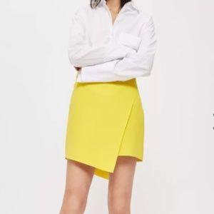Topshop Yellow Assyemetric Wrap Mini Skirt